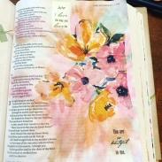 napkin, gesso and watercolor